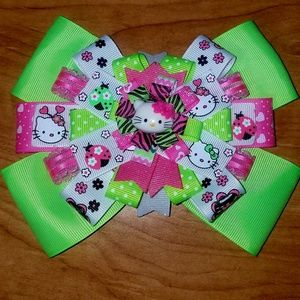 Other - Hot pink and green Hello Kitty hair bow.